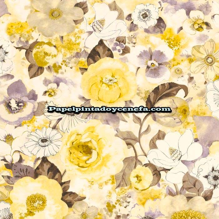 734-D803TR532-Papel-Pintado-Tropical-Decoas-Flores-amarillo